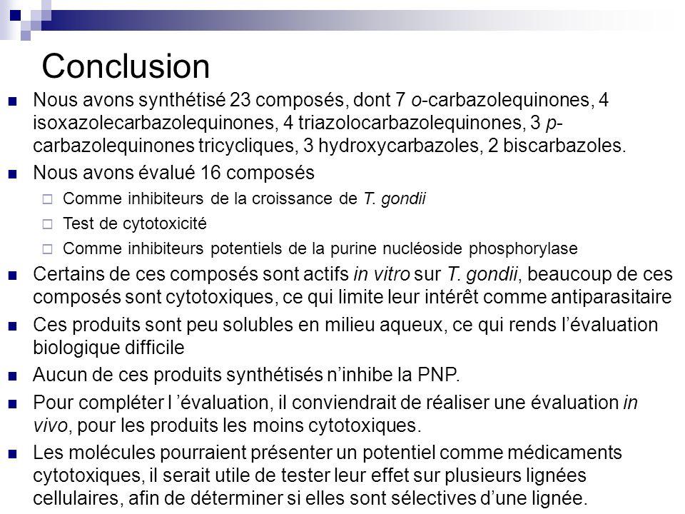 Conclusion Nous avons synthétisé 23 composés, dont 7 o-carbazolequinones, 4 isoxazolecarbazolequinones, 4 triazolocarbazolequinones, 3 p- carbazolequi