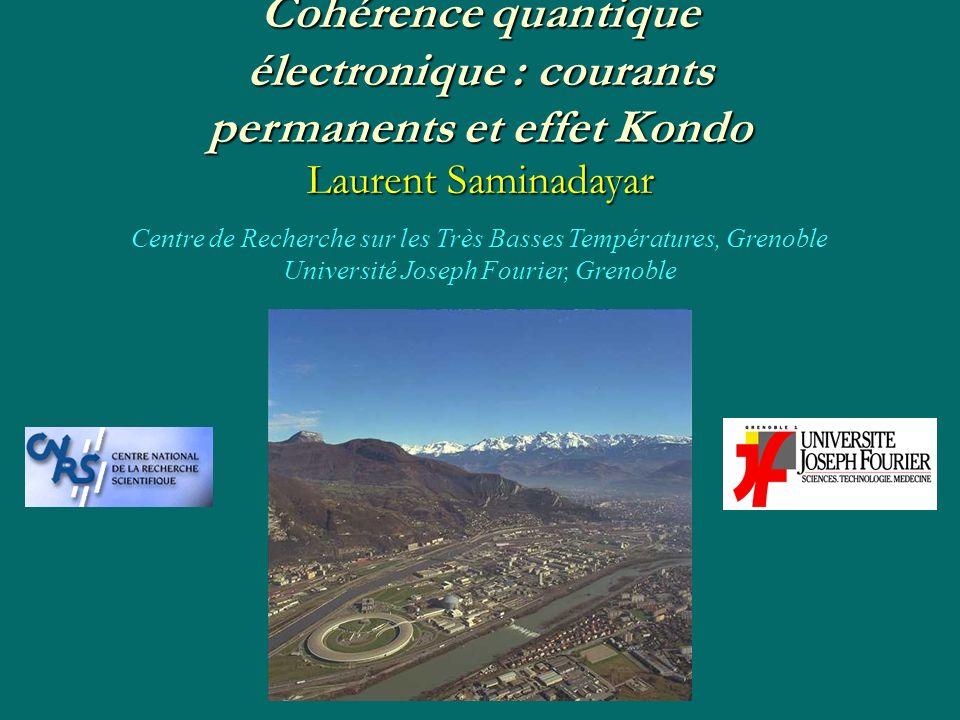 Cohérence quantique électronique : courants permanents et effet Kondo Laurent Saminadayar Centre de Recherche sur les Très Basses Températures, Grenob