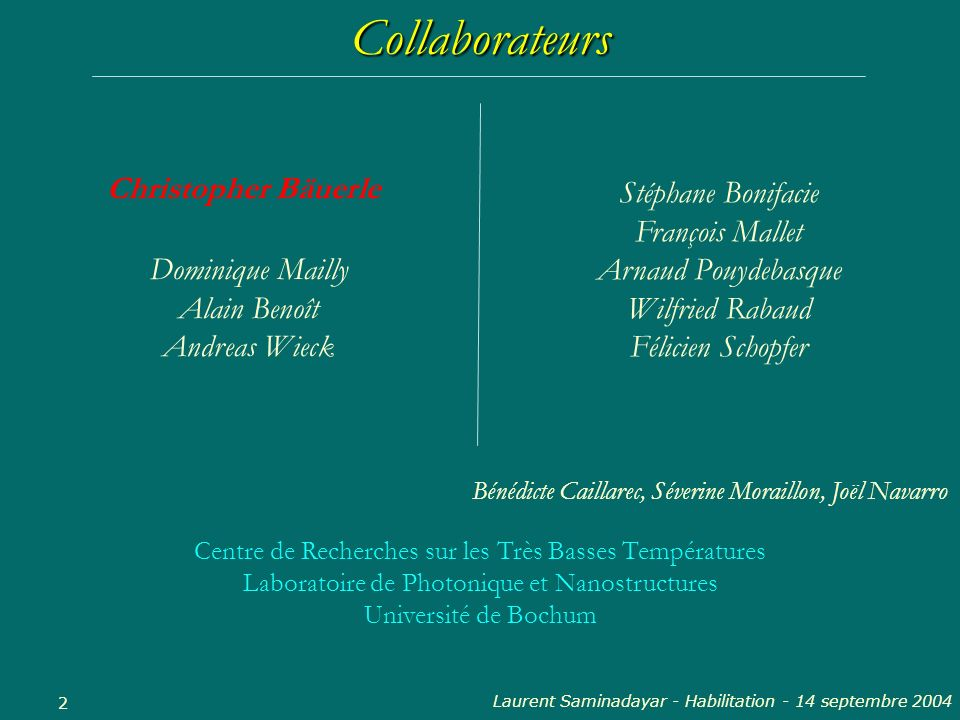 Laurent Saminadayar - Habilitation - 14 septembre 2004 23 Déphasage et effet Kondo Dopage par implantation : Variation de la concentration Différentes impuretés Variation de lécrantage Projet européen « Ultra 1D » D.