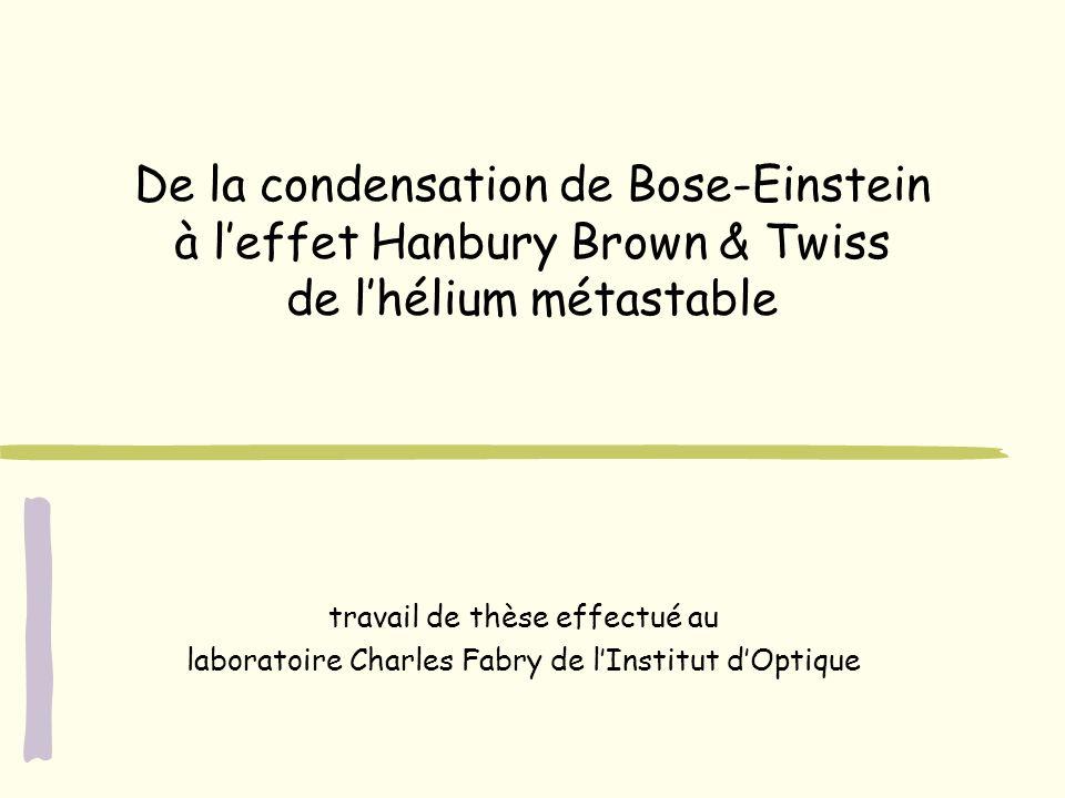 De la condensation de Bose-Einstein à leffet Hanbury Brown & Twiss de lhélium métastable travail de thèse effectué au laboratoire Charles Fabry de lIn