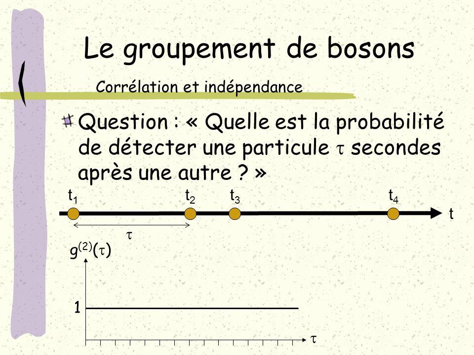 Le groupement de bosons Question : « Quelle est la probabilité de détecter une particule secondes après une autre ? » Corrélation et indépendance 1 g