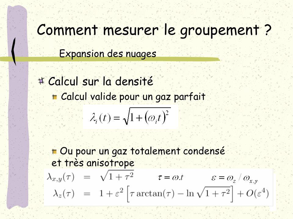 Calcul sur la densité Calcul valide pour un gaz parfait Comment mesurer le groupement ? Expansion des nuages Ou pour un gaz totalement condensé et trè