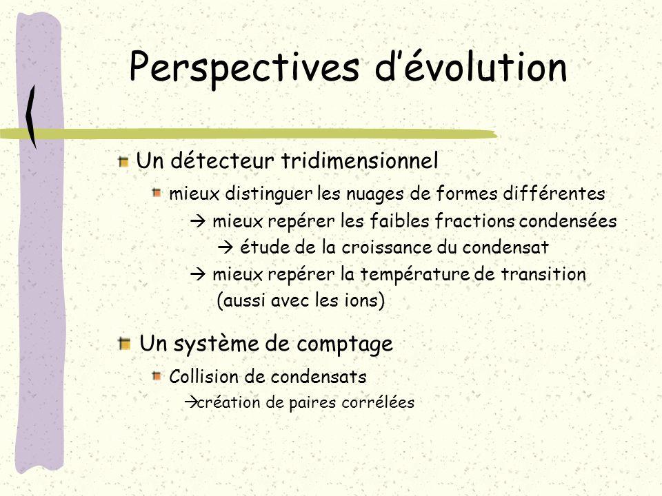 Perspectives dévolution Un système de comptage Collision de condensats création de paires corrélées Un détecteur tridimensionnel mieux distinguer les