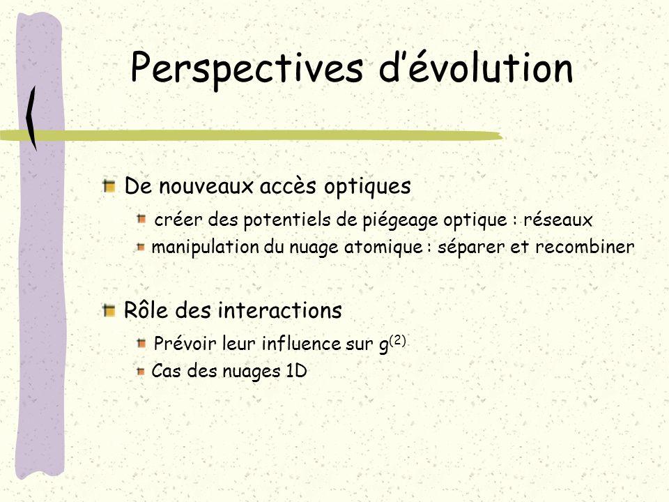 Perspectives dévolution Rôle des interactions Prévoir leur influence sur g (2) Cas des nuages 1D De nouveaux accès optiques créer des potentiels de pi