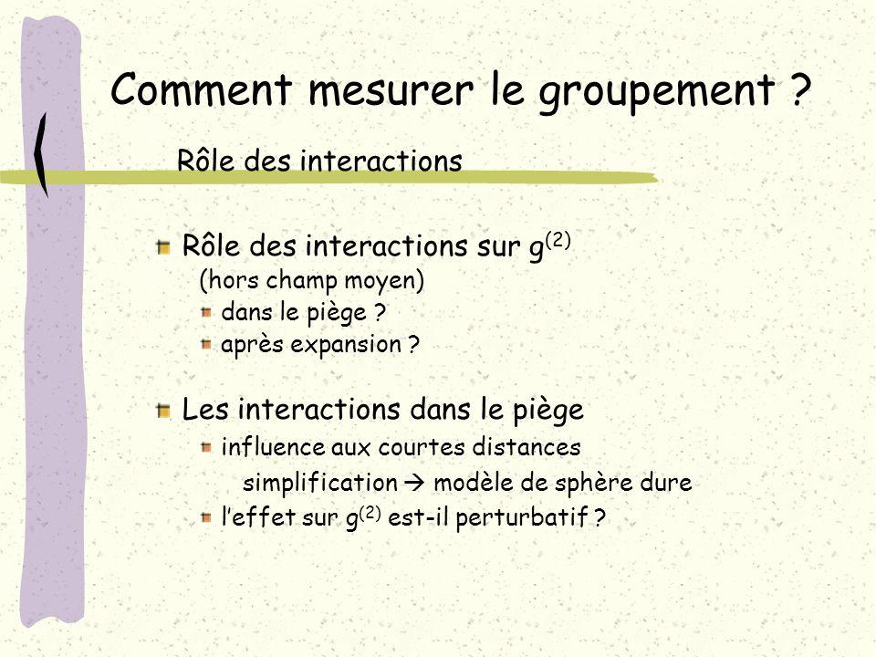Rôle des interactions sur g (2) (hors champ moyen) dans le piège ? après expansion ? Comment mesurer le groupement ? Rôle des interactions Les interac