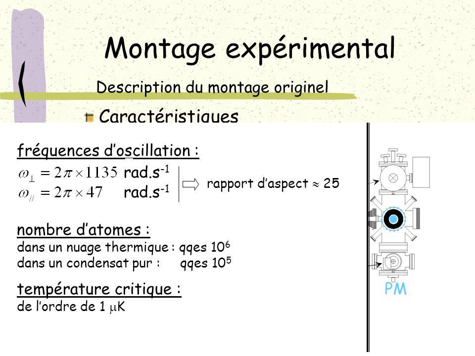 Montage expérimental Description du montage originel Caractéristiques PM fréquences doscillation : rad.s -1 rapport daspect 25 nombre datomes : dans u
