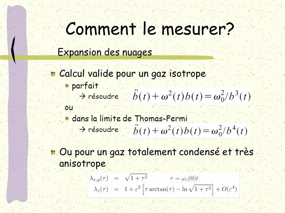 Calcul valide pour un gaz isotrope parfait résoudre ou dans la limite de Thomas-Fermi résoudre Ou pour un gaz totalement condensé et très anisotrope C