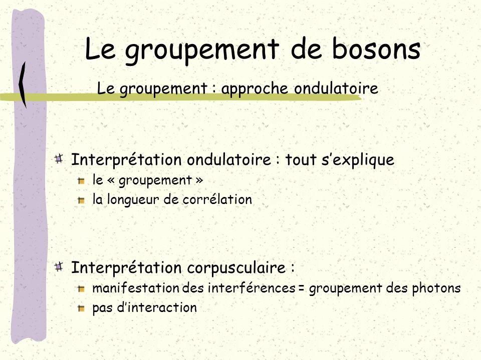 Le groupement de bosons Le groupement : approche ondulatoire Interprétation ondulatoire : tout sexplique le « groupement » la longueur de corrélation