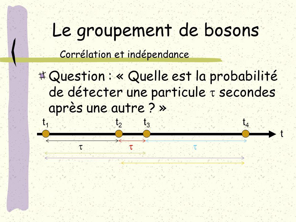 Le groupement de bosons Question : « Quelle est la probabilité de détecter une particule secondes après une autre ? » Corrélation et indépendance t1t1