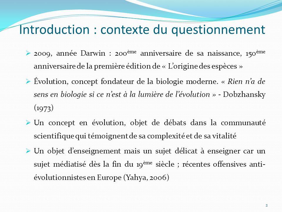 Introduction : contexte du questionnement 2009, année Darwin : 200 ème anniversaire de sa naissance, 150 ème anniversaire de la première édition de « Lorigine des espèces » Évolution, concept fondateur de la biologie moderne.