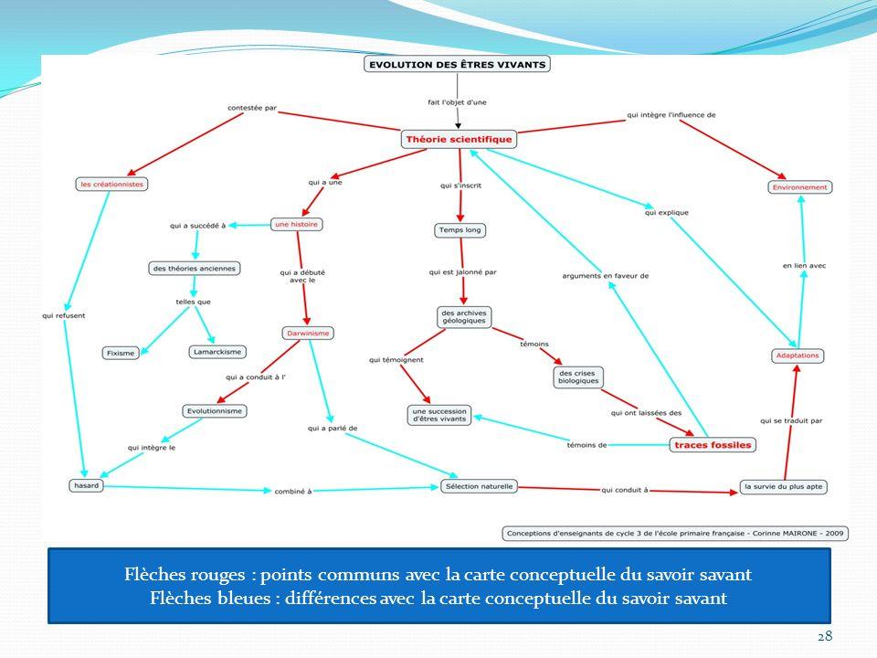 28 Flèches rouges : points communs avec la carte conceptuelle du savoir savant Flèches bleues : différences avec la carte conceptuelle du savoir savant
