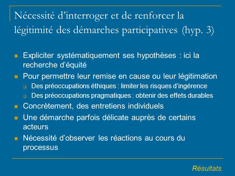 Nécessité dinterroger et de renforcer la légitimité des démarches participatives (hyp.