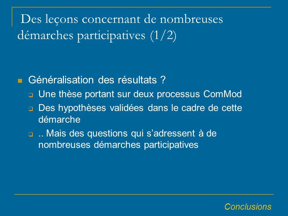 Des leçons concernant de nombreuses démarches participatives (1/2) Généralisation des résultats .
