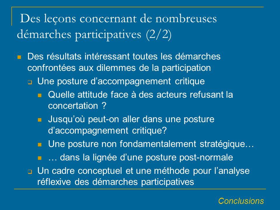 Des leçons concernant de nombreuses démarches participatives (2/2) Des résultats intéressant toutes les démarches confrontées aux dilemmes de la participation Une posture daccompagnement critique Quelle attitude face à des acteurs refusant la concertation .