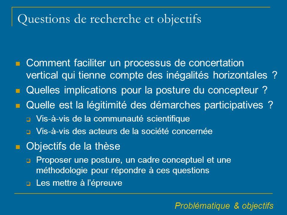 Questions de recherche et objectifs Comment faciliter un processus de concertation vertical qui tienne compte des inégalités horizontales .