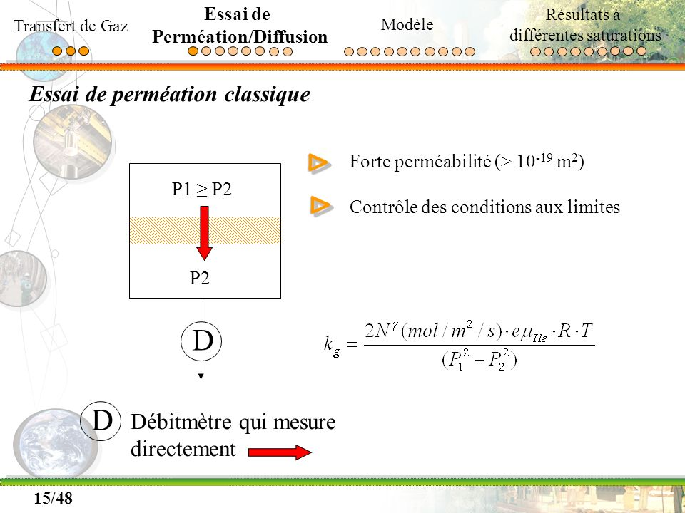 15/48 Essai de perméation classique P1 P2 P2 D D Débitmètre qui mesure directement Forte perméabilité (> 10 -19 m 2 ) Contrôle des conditions aux limi