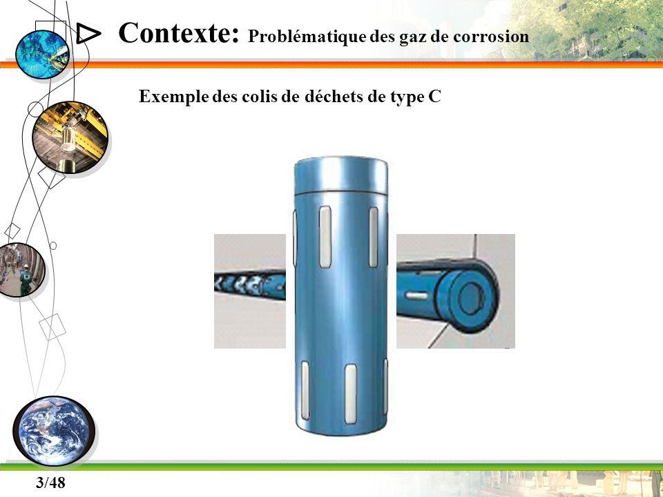 Δ 4/48 Contexte: Problématique des gaz de corrosion Exemple des colis de déchets de type C Production de gaz Dissolution dans leau souterraine Création dun phase gazeuse Possible formation de fissures