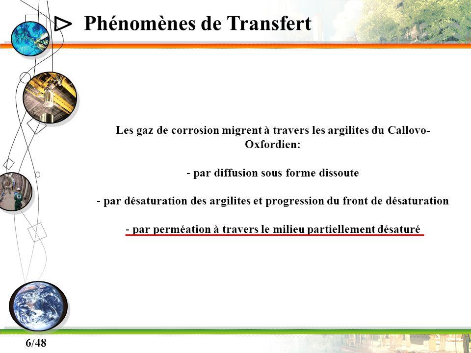 Δ 6/48 Phénomènes de Transfert Les gaz de corrosion migrent à travers les argilites du Callovo- Oxfordien: - par diffusion sous forme dissoute - par d