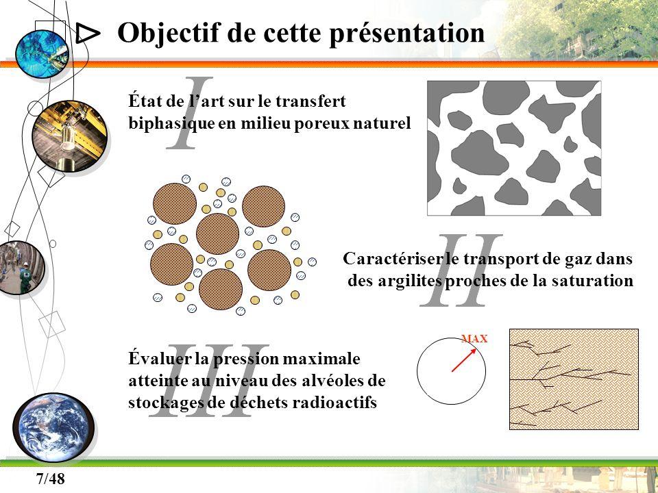 Δ 7/48 Objectif de cette présentation État de lart sur le transfert biphasique en milieu poreux naturel Caractériser le transport de gaz dans des argi