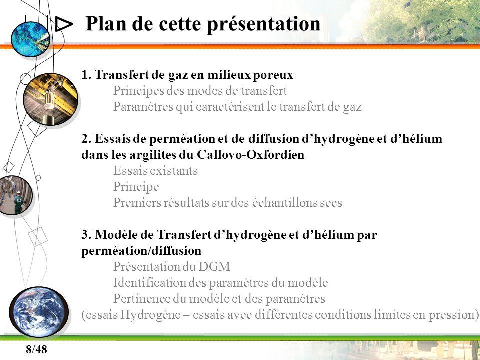 Δ 8/48 Plan de cette présentation 1. Transfert de gaz en milieux poreux Principes des modes de transfert Paramètres qui caractérisent le transfert de