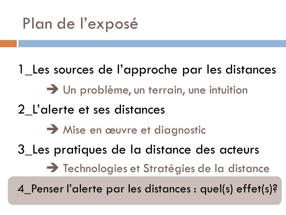Plan de lexposé 1_Les sources de lapproche par les distances Un problème, un terrain, une intuition 2_Lalerte et ses distances Mise en œuvre et diagno