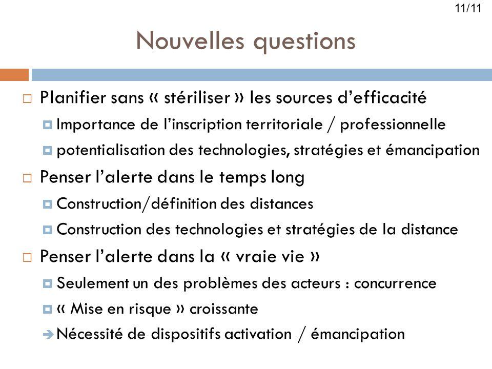 Nouvelles questions Planifier sans « stériliser » les sources defficacité Importance de linscription territoriale / professionnelle potentialisation d