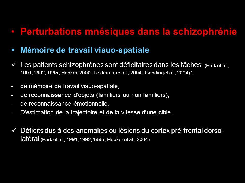 Perturbations mnésiques dans la schizophrénie Mémoire de travail visuo-spatiale Les patients schizophrènes sont déficitaires dans les tâches (Park et