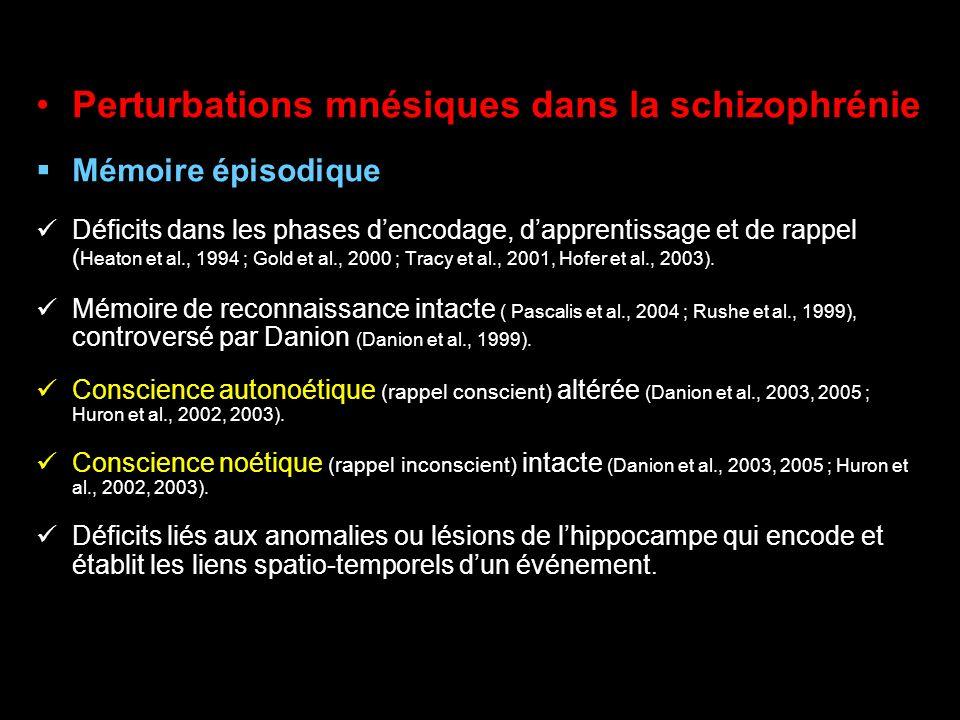 Perturbations mnésiques dans la schizophrénie Mémoire épisodique Déficits dans les phases dencodage, dapprentissage et de rappel ( Heaton et al., 1994