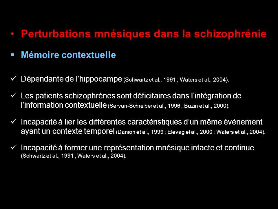 Perturbations mnésiques dans la schizophrénie Mémoire contextuelle Dépendante de lhippocampe (Schwartz et al., 1991 ; Waters et al., 2004). Les patien