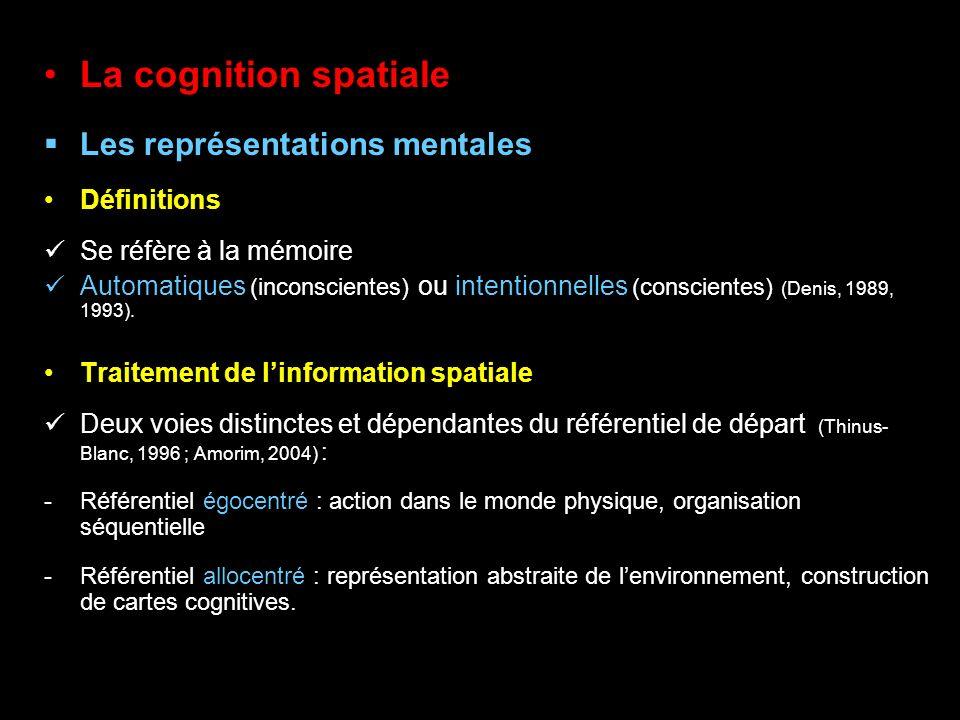 La cognition spatiale Les représentations mentales Définitions Se réfère à la mémoire Automatiques (inconscientes) ou intentionnelles (conscientes) (D