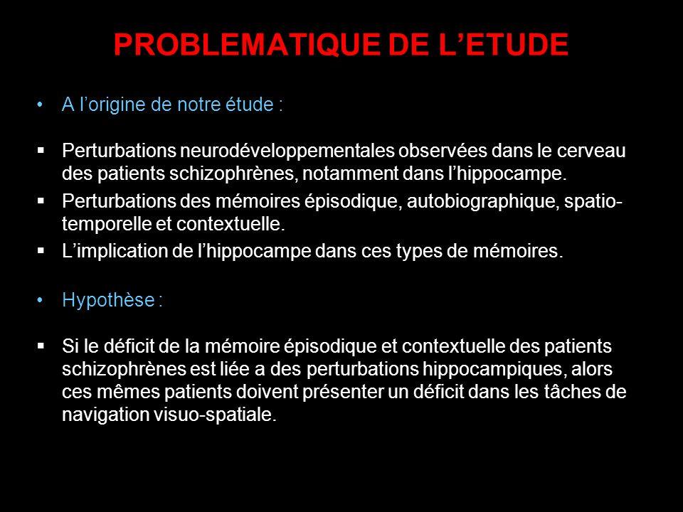 PROBLEMATIQUE DE LETUDE A lorigine de notre étude : Perturbations neurodéveloppementales observées dans le cerveau des patients schizophrènes, notamme