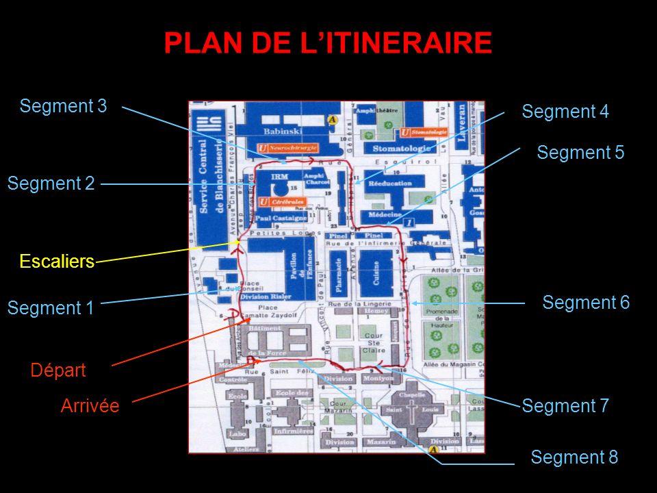 PLAN DE LITINERAIRE Segment 7 Segment 6 Segment 5 Segment 4 Segment 3 Segment 2 Segment 1 Escaliers Départ Arrivée Segment 8