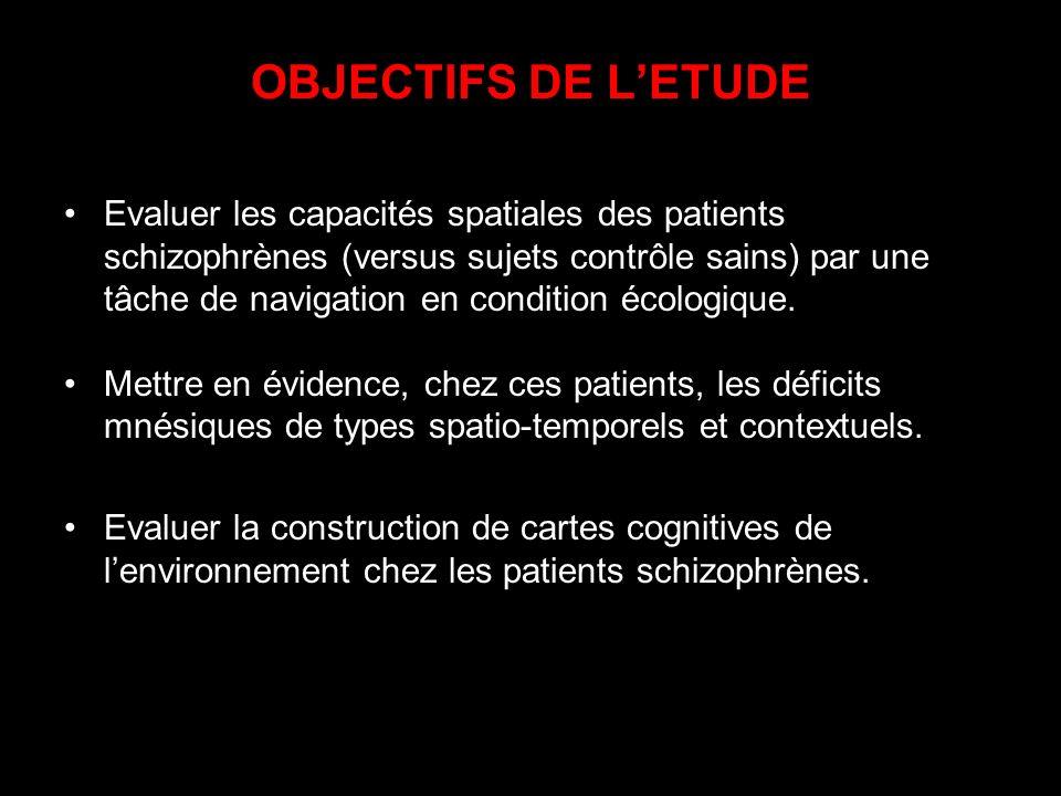 OBJECTIFS DE LETUDE Evaluer les capacités spatiales des patients schizophrènes (versus sujets contrôle sains) par une tâche de navigation en condition