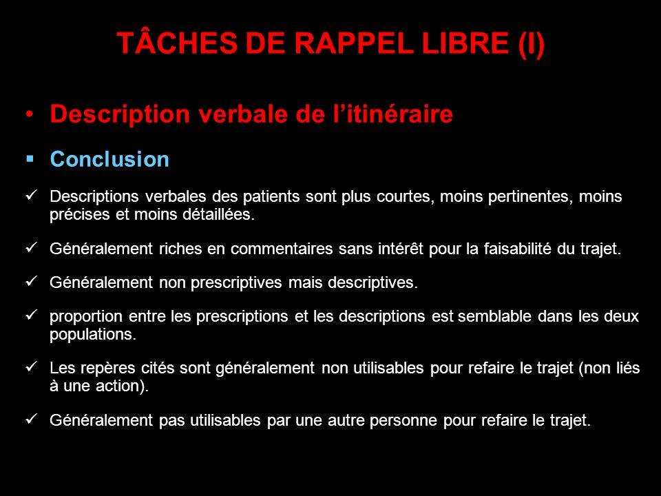 TÂCHES DE RAPPEL LIBRE (I) Description verbale de litinéraire Conclusion Descriptions verbales des patients sont plus courtes, moins pertinentes, moin