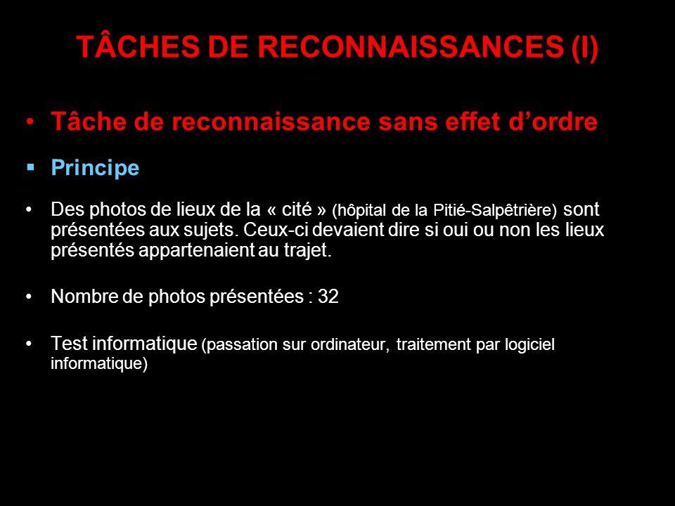 TÂCHES DE RECONNAISSANCES (I) Tâche de reconnaissance sans effet dordre Principe Des photos de lieux de la « cité » (hôpital de la Pitié-Salpêtrière)