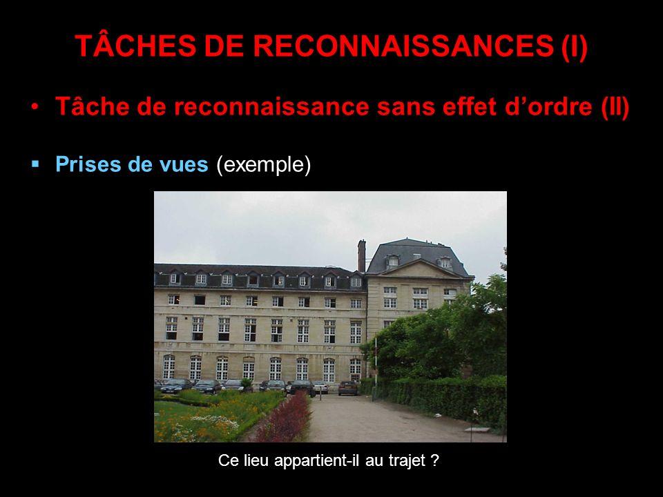 TÂCHES DE RECONNAISSANCES (I) Tâche de reconnaissance sans effet dordre (II) Prises de vues (exemple) Ce lieu appartient-il au trajet ?