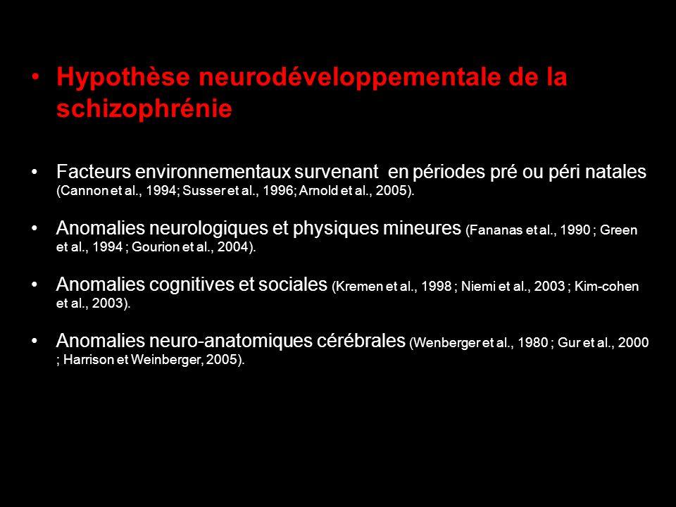 Hypothèse neurodéveloppementale de la schizophrénie Facteurs environnementaux survenant en périodes pré ou péri natales (Cannon et al., 1994; Susser e