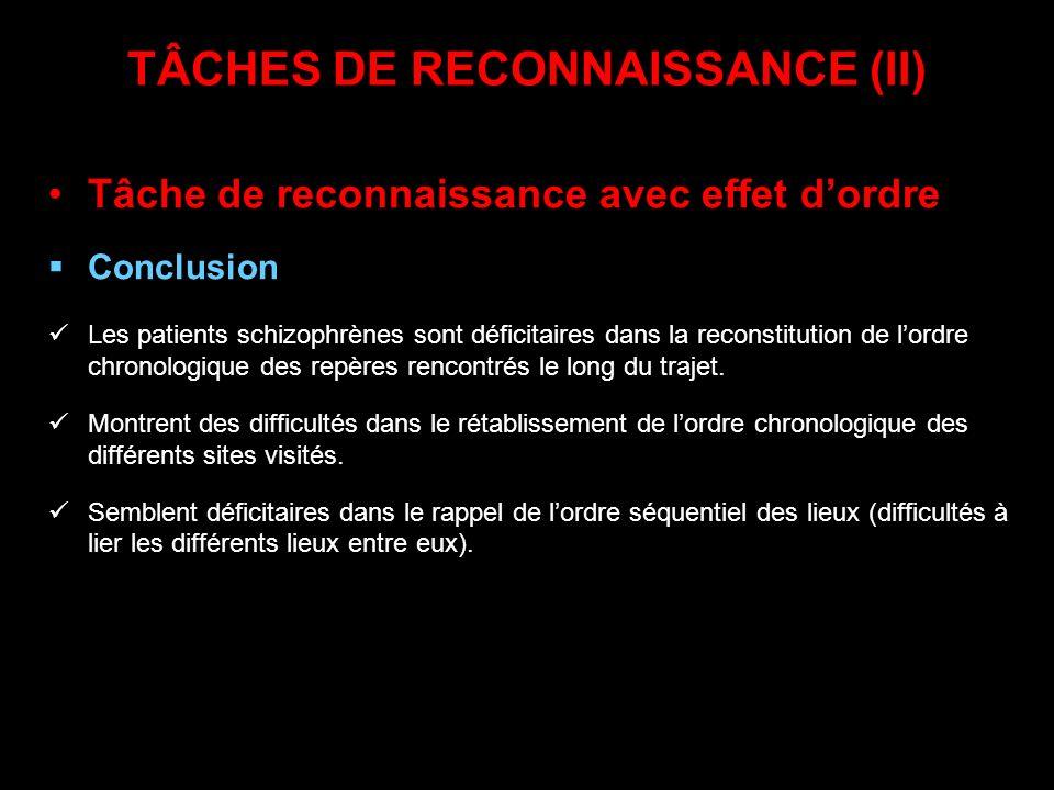 TÂCHES DE RECONNAISSANCE (II) Tâche de reconnaissance avec effet dordre Conclusion Les patients schizophrènes sont déficitaires dans la reconstitution