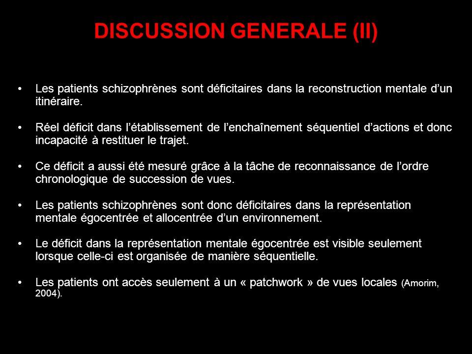DISCUSSION GENERALE (II) Les patients schizophrènes sont déficitaires dans la reconstruction mentale dun itinéraire. Réel déficit dans létablissement