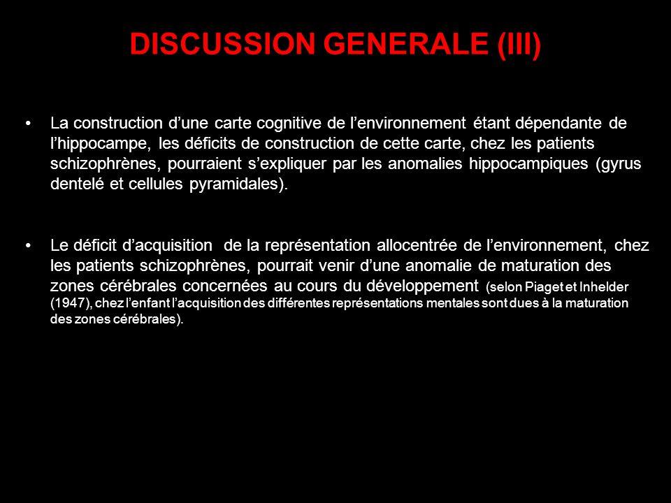 DISCUSSION GENERALE (III) La construction dune carte cognitive de lenvironnement étant dépendante de lhippocampe, les déficits de construction de cett
