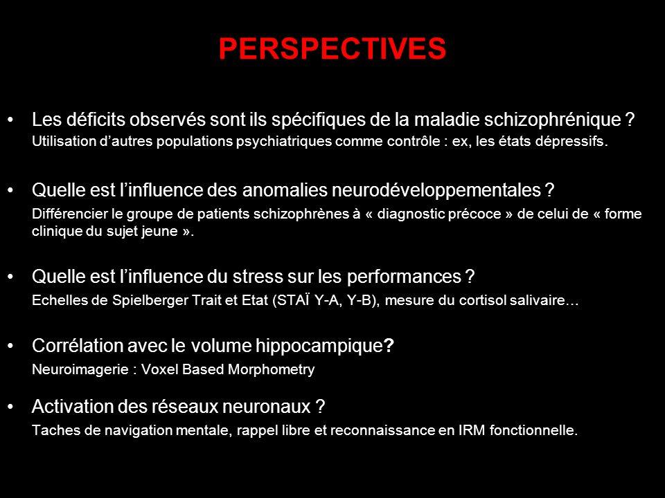 PERSPECTIVES Les déficits observés sont ils spécifiques de la maladie schizophrénique ? Utilisation dautres populations psychiatriques comme contrôle