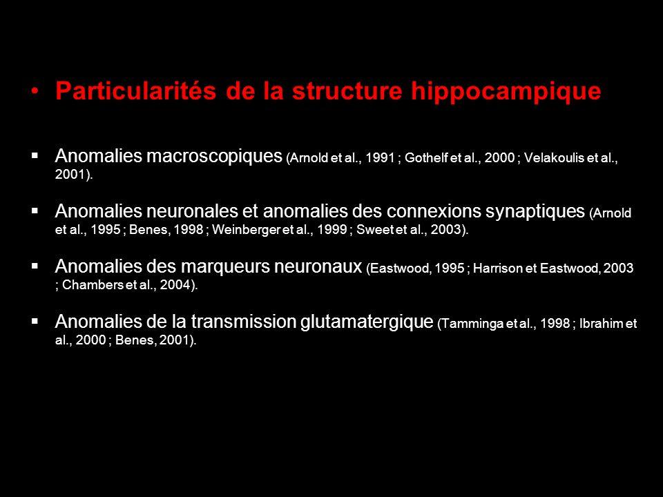 Particularités de la structure hippocampique Anomalies macroscopiques (Arnold et al., 1991 ; Gothelf et al., 2000 ; Velakoulis et al., 2001). Anomalie