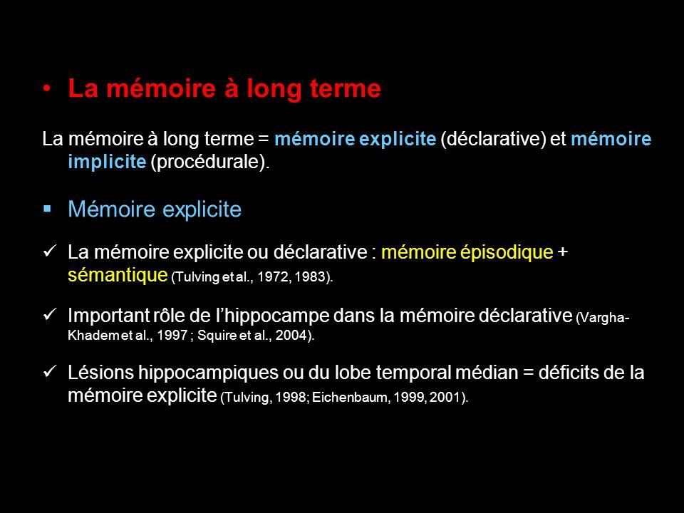 La mémoire à long terme Mémoire déclarative La mémoire sémantique Se réfère aux faits et aux connaissances générales (Tulving et al., 1972, 1983) Lésions de lhippocampe = déficits de la mémoire sémantique, pouvant se traduire par une incapacité à apprendre la signification de nouveaux mots (encodage, Squire et Zola, 1998).