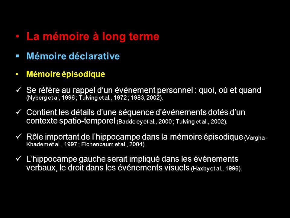 La mémoire à long terme Mémoire déclarative Mémoire épisodique Se réfère au rappel dun événement personnel : quoi, où et quand (Nyberg et al, 1996 ; T