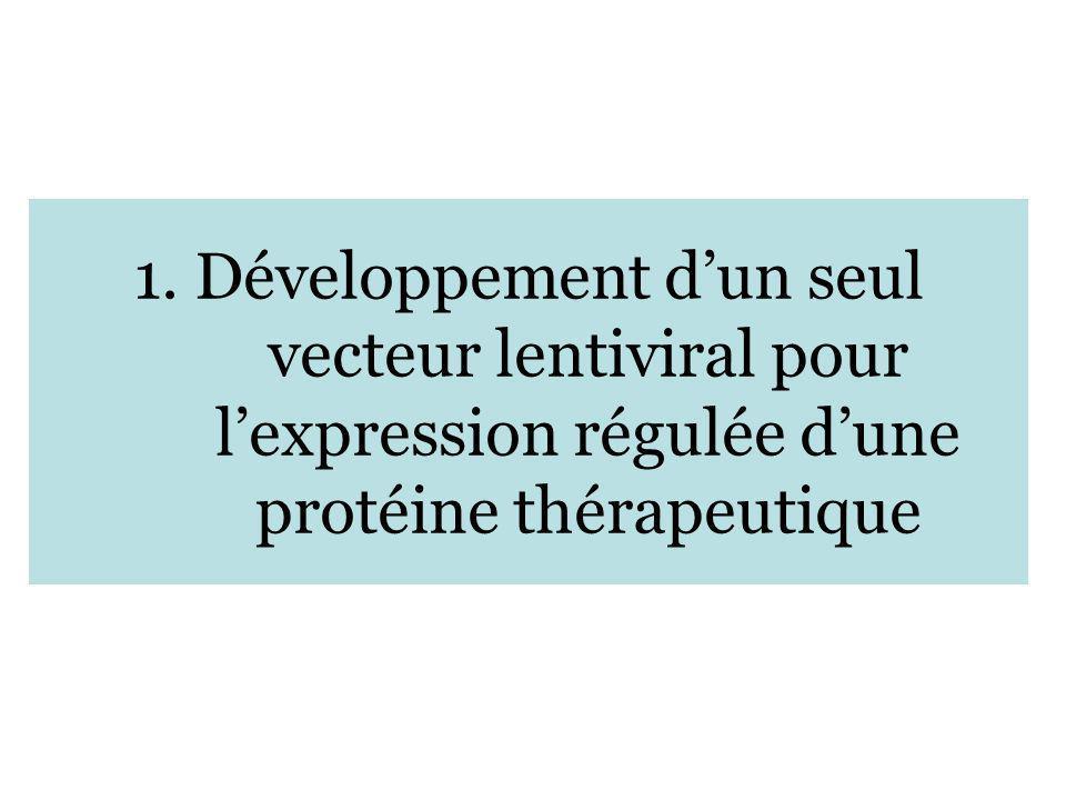 1. Développement dun seul vecteur lentiviral pour lexpression régulée dune protéine thérapeutique