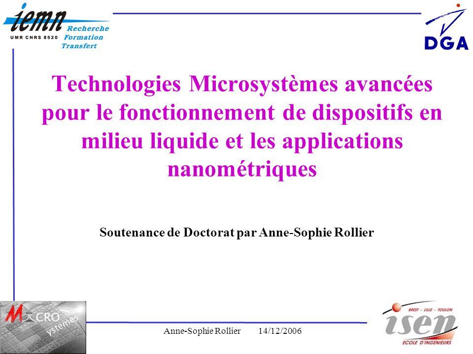 Anne-Sophie Rollier14/12/20061 Technologies Microsystèmes avancées pour le fonctionnement de dispositifs en milieu liquide et les applications nanomét