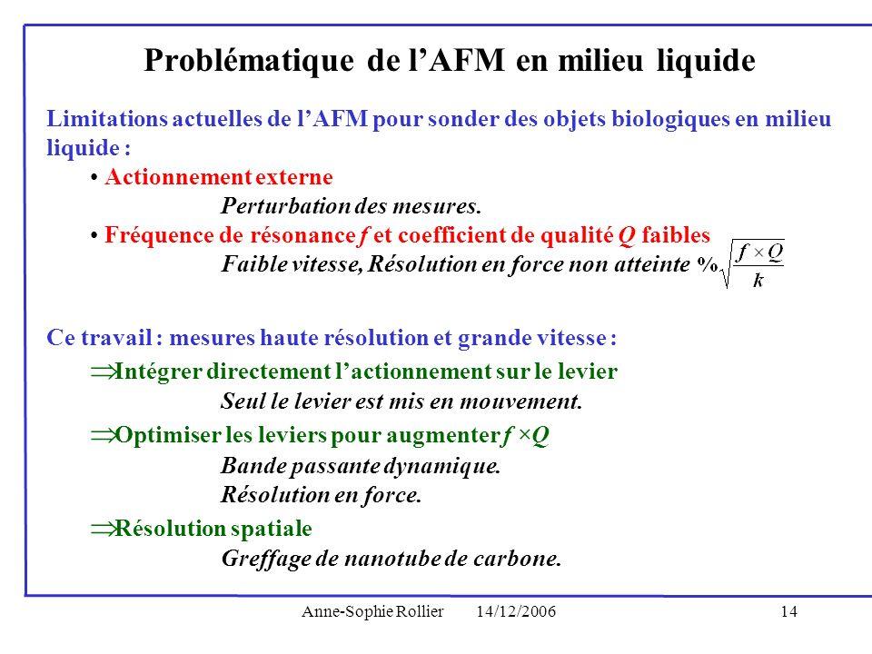 Anne-Sophie Rollier14/12/200614 Problématique de lAFM en milieu liquide Ce travail : mesures haute résolution et grande vitesse : Intégrer directement
