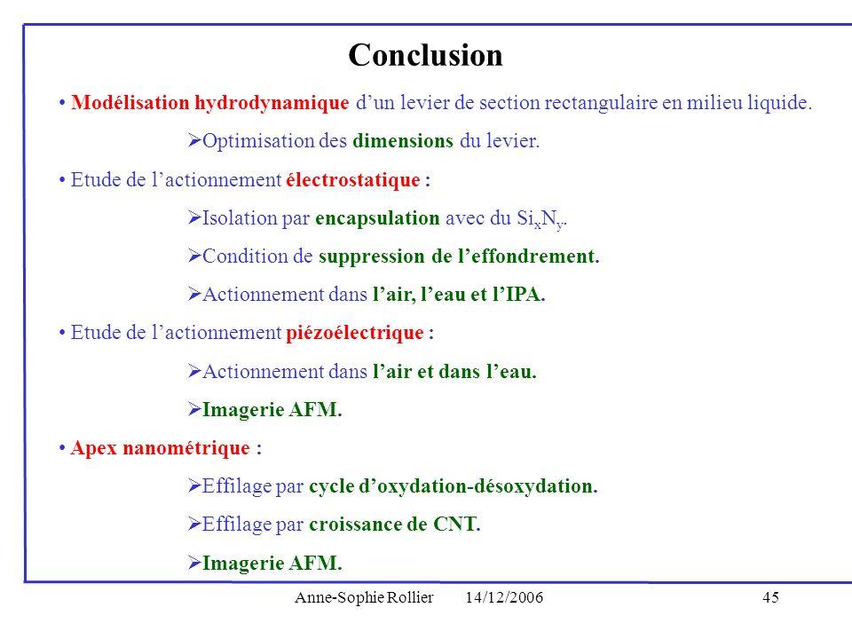 Anne-Sophie Rollier14/12/200645 Modélisation hydrodynamique dun levier de section rectangulaire en milieu liquide. Optimisation des dimensions du levi