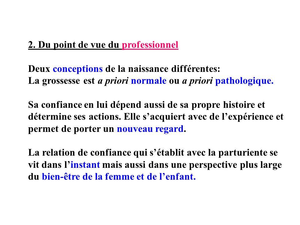 2. Du point de vue du professionnel Deux conceptions de la naissance différentes: La grossesse est a priori normale ou a priori pathologique. Sa confi