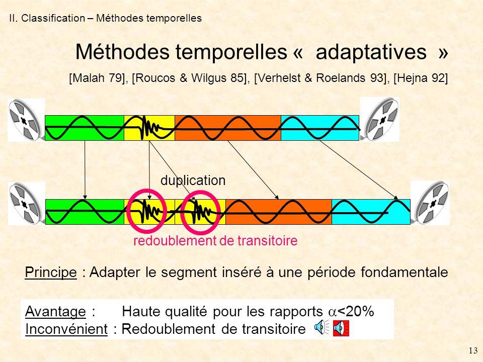12 II. Classification – Méthodes temporelles Méthodes temporelles « aveugles » Avantage : Simplicité Inconvénient : Discontinuité de désynchronisation